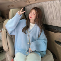 Wool knitwear Spring 2021 Average size Light blue, pink Long sleeves singleton  Cardigan other 30% and below Regular routine commute easy V-neck Bat sleeve other Single breasted Korean version 18-24 years old Button