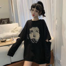 Sweater / sweater Autumn of 2019 White, black Average size Long sleeves Medium length Socket singleton  routine Crew neck easy commute routine character 18-24 years old 30% and below Korean version other Holes, prints, stitches