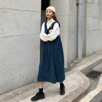 Dress Spring 2021 Average size Mid length dress singleton  Sleeveless commute Loose waist Solid color Socket A-line skirt straps 18-24 years old Type A Retro pocket 30% and below other