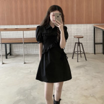Dress Summer 2021 black S, M Short skirt singleton  Short sleeve commute Polo collar High waist Solid color Single row two buttons A-line skirt puff sleeve 18-24 years old Type A Retro Pleats, buttons 30% and below other