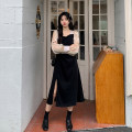Dress Spring 2021 Long, short Average size Mid length dress singleton  Long sleeves commute square neck High waist Socket Irregular skirt puff sleeve 18-24 years old Type A Retro Splicing 30% and below