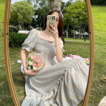 Dress Summer 2021 Blue, green Average size Mid length dress singleton  Short sleeve Sweet square neck High waist Decor other Big swing puff sleeve Others 18-24 years old Type A 30% and below other college
