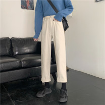 Jeans Spring 2021 Black, apricot S,M,L,XL trousers High waist Wide legged trousers routine 18-24 years old washing other 30% and below