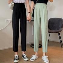 Suit pants / suit pants S,M,L Green, black Summer 2021 Straight cylinder High waist Capris / Capris 18-24 years old 30% and below girl Korean version