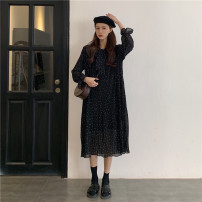 Dress Spring 2021 black Average size longuette singleton  Long sleeves commute Crew neck Loose waist Dot Socket A-line skirt routine 18-24 years old Type A Korean version Lace up, printed 30% and below other other