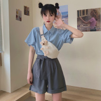 shirt S,M,L Summer 2021 other 30% and below Short sleeve commute Regular Polo collar puff sleeve Solid color 18-24 years old Korean version