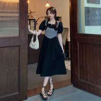 Dress Summer 2021 White, black Average size Mid length dress Fake two pieces Short sleeve commute square neck High waist lattice Socket A-line skirt puff sleeve 18-24 years old Type A Retro Splicing 30% and below other