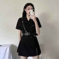 Dress Spring 2021 Small black skirt with belt S,M,L Short skirt singleton  Short sleeve commute tailored collar High waist Solid color double-breasted A-line skirt routine Others 18-24 years old Type A Korean version Panel, button, zipper 30% and below other