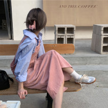 Dress Spring 2021 Blue, beige, pink Average size Mid length dress singleton  Sleeveless Sweet Loose waist Solid color Socket A-line skirt straps 18-24 years old Type A pocket 30% and below other college