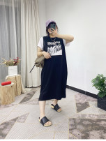 Dress Summer 2021 black Average size longuette singleton  Sleeveless street Crew neck Solid color Socket routine Type H printing 51% (inclusive) - 70% (inclusive) cotton Europe and America