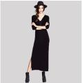 Dress Spring 2016 longuette singleton  three quarter sleeve street V-neck Solid color Socket routine Europe and America