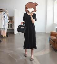 Dress Summer 2017 Black, customized in other colors 50. M, other sizes Mid length dress singleton  Short sleeve street Crew neck Loose waist Solid color Socket Ruffle Skirt routine 18-24 years old Lotus leaf edge 31% (inclusive) - 50% (inclusive) other other Europe and America