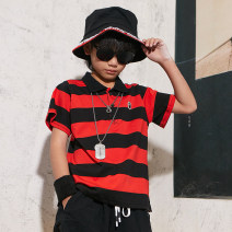 T-shirt Black and white black and red BAPE KIDS 100cm 110cm 120cm 130cm 140cm neutral summer Short sleeve Lapel crew neck Versatile There are models in the real shooting nothing cotton stripe Cotton 100% Sweat absorption Summer 2021