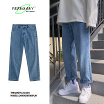 Jeans Youth fashion Others M. L, XL, 2XL, s small, XS plus small Black, light blue routine No bullet Regular denim trousers Other leisure Four seasons teenagers middle-waisted Loose straight tube tide Straight foot zipper Five bags washing cotton