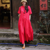 Dress Summer 2020 Red, pink Average size longuette singleton  Short sleeve commute stand collar Loose waist Solid color Socket A-line skirt routine Others Type A Qianxu Retro Pleat, pleat 71% (inclusive) - 80% (inclusive) other hemp