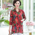 Middle aged and old women's wear Summer 2021 Red flower green flower fashion shirt easy singleton  Solid color 40-49 years old Cardigan thin Polo collar Medium length routine The clothes of Europe pocket other Other 100% 96% and above Pure e-commerce (online only) Single breasted three quarter sleeve