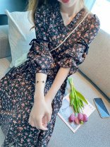 Dress Summer 2021 Black red S,M,L,XL longuette singleton  elbow sleeve commute Crew neck High waist Broken flowers Socket Big swing pagoda sleeve Other / other Retro printing More than 95% other other