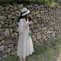 Dress Summer 2021 Apricot (with sling) S,M,L,XL Middle-skirt singleton  elbow sleeve Sweet V-neck High waist Solid color Socket routine Others Type A Other / other Gouhua hollow More than 95% other cotton Countryside