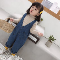 trousers Other / other female 80cm, 90cm, 100cm, 110cm, 120cm, 130cm, attention! The suspenders are more than half a size Blue, apricot base coat spring and autumn trousers Korean version There are models in the real shooting rompers Button High waist Pure cotton (100% content) Don't open the crotch