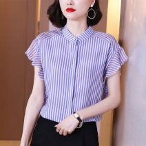 Lace / Chiffon Summer 2021 blue S,M,L,XL,2XL Short sleeve commute Cardigan singleton  easy Regular stand collar stripe 25-29 years old Stickers, folds, prints, stitches, buttons Korean version 96% and above polyester fiber