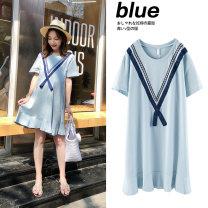 Dress Zilan Blue (lactation) blue (lactation) + random color safety pants M L XL Korean version Short sleeve Medium length summer Crew neck Solid color 183-315