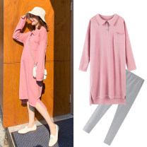 Dress Zilan Sky blue apricot M L XL average size Korean version Long sleeves Medium length spring Lapel Solid color #YF151-9010##1##