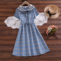 Dress Summer 2021 blue S,XL,2XL,L,M longuette singleton  Short sleeve Sweet Admiral Elastic waist lattice Single breasted A-line skirt routine Others 18-24 years old Bowknot, lace up, stitching other