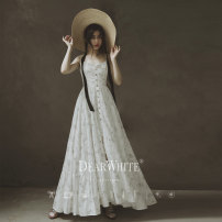 Wedding dress Summer 2020 S,M,L,S-150,M-155 grace other Outdoor Lawn  Sling type Three dimensional cutting middle-waisted 18-25 years old flower Dearwhite / Dear white Non handmade flower 96% and above cotton