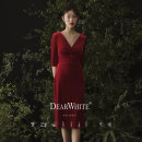"""Dress / evening wear Wedding, adulthood, party, company annual meeting, performance, routine, appointment S,M,L """"The fragrance of crimson - Chapter 10"""" is on sale and will be delivered on May 8 grace Middle-skirt middle-waisted Summer of 2019 A-line skirt Deep collar V zipper velvet 26-35 years old"""