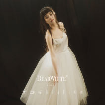 """Wedding dress Spring of 2018 In stock """"strap inside"""", in stock """"short skirt"""", in stock """"long skirt"""", in stock """"long skirt"""" will be delivered on April 23, and in stock """"long skirt"""" will be delivered on May 15 S. M, l, average size Sweet A-line skirt Outdoor Lawn  Sling type Netting 083170707-9"""