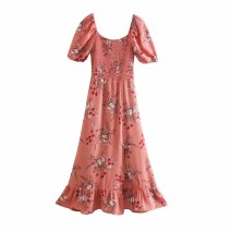 Dress Spring 2021 As shown in the figure S,M,L Mid length dress Short sleeve street square neck High waist 18-24 years old 81% (inclusive) - 90% (inclusive) Europe and America