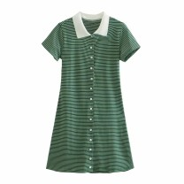 Dress Summer 2021 As shown in the figure S,M,L Short skirt Short sleeve street Polo collar High waist 18-24 years old 81% (inclusive) - 90% (inclusive) Europe and America