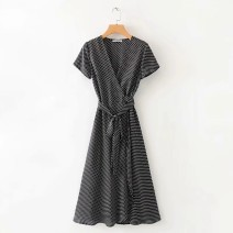 Dress Summer 2020 As shown in the figure S,M,L Mid length dress Short sleeve street V-neck High waist 18-24 years old More than 95% Europe and America