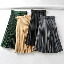 skirt Spring 2020 XS,S,M,L Green, gray, black, khaki Mid length dress street High waist 18-24 years old 81% (inclusive) - 90% (inclusive) Europe and America