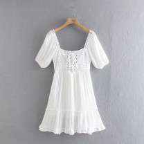 Dress Spring 2021 As shown in the figure XS,S,M,L Short skirt Short sleeve street square neck High waist 18-24 years old 81% (inclusive) - 90% (inclusive) Europe and America