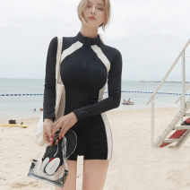one piece  Other brands XL,L,M One piece flat corner swimsuit With chest pad without steel support polyester fiber female Long sleeves Casual swimsuit Solid color