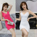Dress Summer 2020 White, black, red, pink S,M,L,XL Short skirt singleton  Sleeveless commute V-neck Loose waist Solid color Socket Pleated skirt other camisole 18-24 years old Type H Korean version Pleating, drilling, pleating, gauze other other