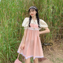 Dress Summer 2021 One piece of suspender skirt, one piece of shirt Average size Middle-skirt singleton  Sleeveless commute other Loose waist Solid color Socket A-line skirt other camisole 18-24 years old Type A Korean version Bows, lace