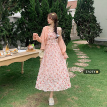 Dress Summer 2021 One piece sunscreen, one piece suspender dress One size fits all, s, m, l longuette singleton  Sleeveless commute other High waist Broken flowers Socket A-line skirt routine camisole 18-24 years old Type A Korean version Button
