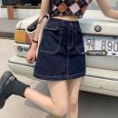 skirt Summer 2021 S,M,L navy blue Short skirt commute High waist A-line skirt other Type A 18-24 years old Pocket, button Korean version