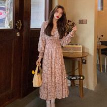 Dress Spring 2021 Pink flowers, blue flowers Average size longuette singleton  Long sleeves commute V-neck High waist Decor Socket A-line skirt routine Others 18-24 years old Type A Korean version