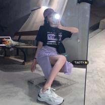 skirt Summer 2021 S. M, average size Black T-shirt, white T-shirt, purple skirt and blue skirt longuette commute High waist skirt Solid color Korean version