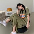 Dress Summer 2021 Bean paste green Average size longuette singleton  Short sleeve commute Crew neck High waist Solid color Socket A-line skirt routine Others 18-24 years old Type H Korean version printing