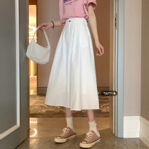 skirt Summer 2021 S,M,L White, black Mid length dress commute High waist A-line skirt Solid color Type A 18-24 years old Button Korean version
