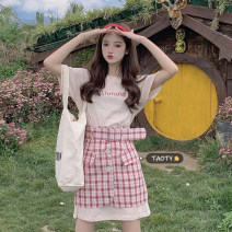 Fashion suit Summer 2021 Average size Apricot T + red plaid skirt, grey T + Purple Plaid Skirt 18-25 years old