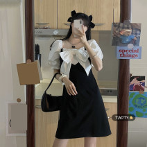 Dress Summer 2021 black S,M,L Short skirt singleton  Long sleeves commute square neck High waist Solid color Socket A-line skirt puff sleeve Others 18-24 years old Type A Korean version Bow, pocket, stitching