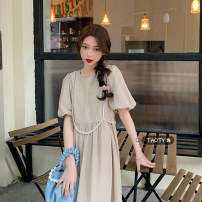 Dress Summer 2021 Khaki, black Average size longuette singleton  Short sleeve commute Crew neck Loose waist Solid color Socket A-line skirt puff sleeve Others 18-24 years old Type A Korean version