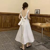 Dress 30% and below other Type A Bare back, bandage other summer Summer 2021 longuette singleton  Sleeveless commute square neck Solid color other other 18-24 years old High waist A-line skirt 5358 camisole Korean version One size fits all