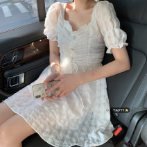 Dress Summer 2021 Pleated Dress, bubble sleeve top S,M,L Middle-skirt singleton  Short sleeve commute other High waist Solid color Socket A-line skirt puff sleeve Others 18-24 years old Type A Korean version Pleating