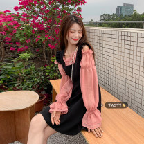 Dress Summer 2021 Black strap skirt, grey blue shirt and pink shirt Average size Middle-skirt singleton  Sleeveless commute other High waist Solid color Socket A-line skirt other straps 18-24 years old Type A Korean version